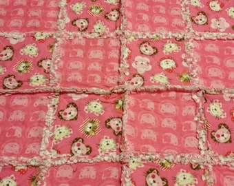 Kitty Cat Hearts Rag Quilt Baby Blanket