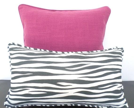 Gray zebra print pillow cover 20x11, gray lumbar pillow dorm room decor, animal print cushion for window seat or entryway bench