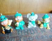 Saint Patrick's Day Candles Set of 4 - Leprechauns - Mouse - Bear