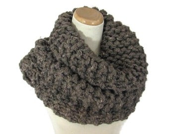 Chunky Cowl, Knit Cowl,  Hand Knit Scarf, Outlander Inspired Cowl, Neck Warmer, Loop, Brown Scarf, Gift For Her,  Winter Scarf, Women Scarf
