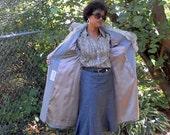 Vintage Youth Craft Grey Wool Coat Fur Rabbit Collar