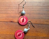 Wire Wrapped Button Earrings