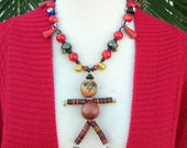 Top Hat Doll Necklace, red coral beads, old frog & face glass beads, millefiori glass beads, the Doll Series, necklace set by SandraDesigns