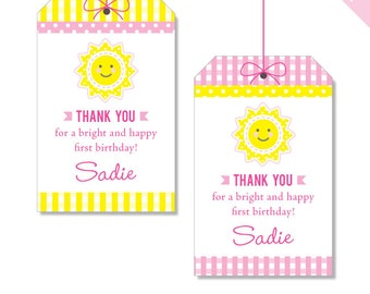 Sunshine Party - Personalized DIY printable favor tags