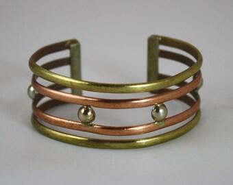 Handmade 1980's Brass, Copper, Sterling Cuff Bracelet