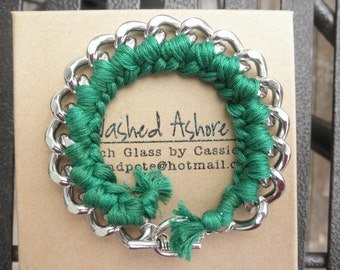 SALE Braided Chain Bracelet Emerald Green