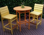 Bistro / Bar / Pub Style 2 Chairs & Table SET for Outdoor Enjoyment - Cedar - available in 15 colors - handcrafted by Laughing Creek