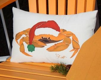 "CRABBY SANTA painted pillow 12""x20"" (30x50cm) bah humbug Christmas holiday curmudgeon grump Scrooge Crabby Chris Original"