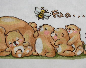 New Finished Completed Cross Stitch - Bears - 932