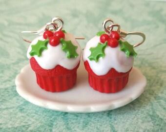 Christmas cupcake earrings