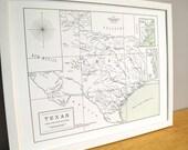 Texas, Letterpress Printed Map