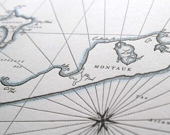 Montauk, East Hampton NY, Letterpress Printed Map (Dark Grey)