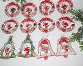 Vintage Set of Plastic Santa Ornaments by McCrory