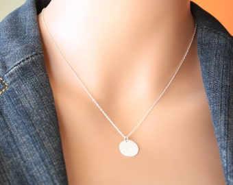 Single Initial disc necklace (1/2 in) Sterling Silver , simple , everyday jewelry , personalized necklace , birthday gift , for wife, mom