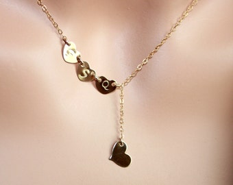 Customized Four Initial Heart Lariat Y Necklace  All gold filled, mom necklace , Family initials, with options you can choose initial Hearts