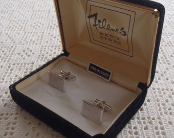 Vintage Cuff Links Engraved Sterling Silver Filene's Box
