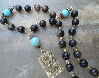 Hand Mala  27 Bead Mala Pocket Mala  Durga  Goddess Prayer Beads  Meditation Yoga Gift  Rosary  Japa Mala  Zen Gift Aum OM Hindu Goddess
