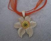 China Doll Diva Ivory Pendant and Orange Organza Ribbon Necklace - Feminine and Delicatee