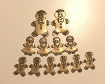 Vintage Gingerbread Man Woman Stampings Findings Brass set of 12 for jewelry making card making scrapbook