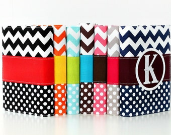 Monogrammed Journal - You select, fabric, frame, and font - Personalized sketchbook - Monogrammed gift - Lined journal, Chevron and Dot