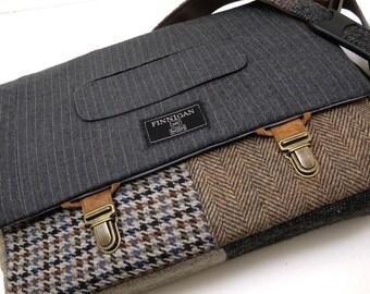 """13"""" Macbook pro Messenger bag Macbook,Laptop Sleeve, Vintage wool,Tunk Latch,Recycled Suit Coat"""