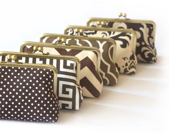 Bridesmaids Gifts Iced Coffee Wedding Party Purses Brown Custom Bags Bridal Party Gift Clutches by Lolis Creations
