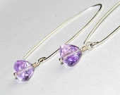 Pink Amethyst Earrings - Gemstone Earrings - Modern Jewelry - Sterling Silver