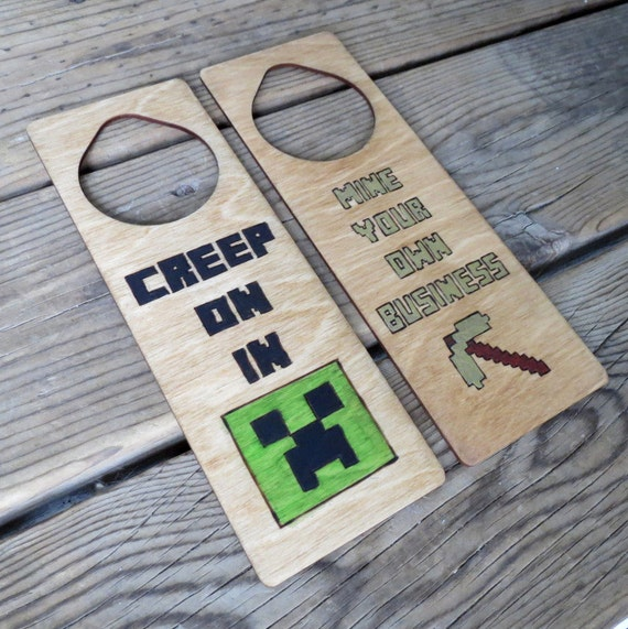 Minecraft Door Hanger Privacy Sign Mine Craft By Oohhhburn