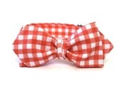 Men's Diamond Point Bow Tie - Coral Gingham - Freestyle Self Tie - Melon and White Plaid Bowtie - In Stock