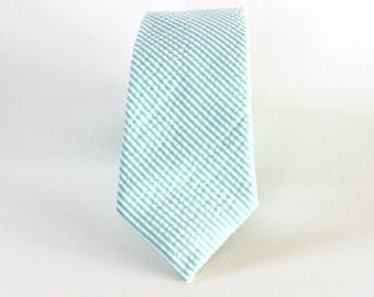 Men's Tie - Mint Green Seersucker - Mint and White Striped Necktie