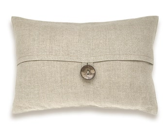 Natural Beige Textured Linen Lumbar Pillow Cover Coconut  Button 12x18 inch DREA DESIGN