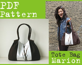 PDF Sewing Pattern to make Pleated Tote Bag Marion INSTANT DOWNLOAD Hobo Purse Handbag Buy one tutorial and get one free