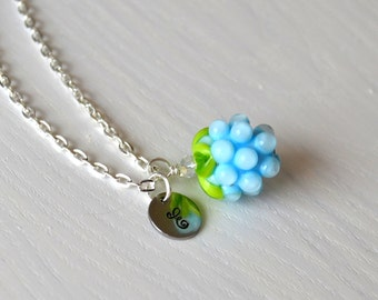 Personalized necklace with stamped initials Light blue berry necklaces Handmade lampwork Baby blue berry Monogrammed necklace