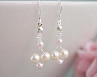 Bridesmaid earrings, Pearl earrings, Wedding earrings, Bridal earrings, Swarovski ivory pink pearls, Bridal shower gifts, Sterling silver