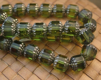 SALE:  15 in strand 10 mm Czech Glass Cathedral Bead, Olive Green - 50% Off
