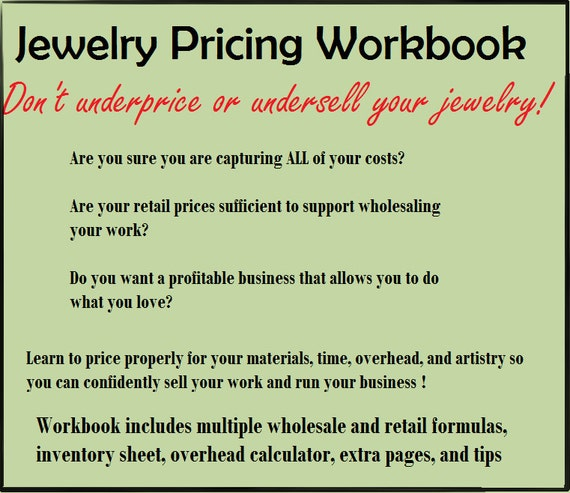 Jewelry Pricing Workbook - Sell your Jewelry for Profit