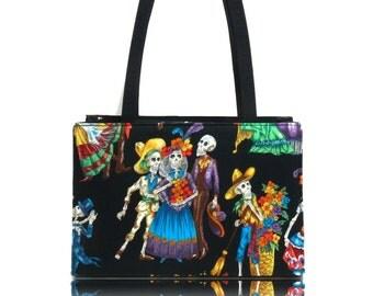 "USA Handmade Bag Shoulder Bag With ""DANCING Skulls"" Halloween Pattern Handbag With Top Snap Closure, Black, COTTON, New"