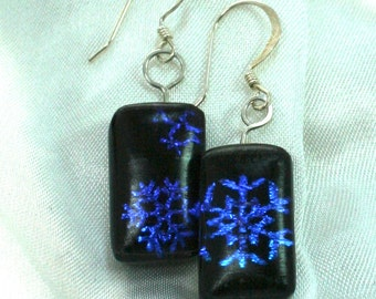 Artisan Snowflake Fused Glass Earrings, Snowflake earrings, Holiday Earrings, Blue Glass, Dangle, OOAK, Sterling Silver Wires