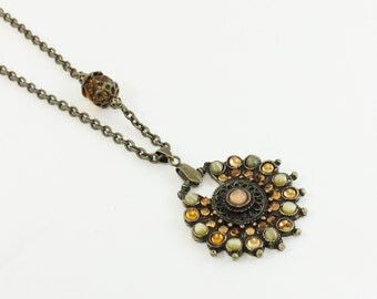 Sun Burst Style Bronze Jeweled and Faceted Amber Pendant Chain Necklace / OOAK / Gift for Her / Statement Necklace
