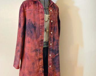 Red Jrs. XL Denim Dress JACKET - Brick Red Hand Dyed Upcycled Xhileration Cotton Trench Jacket - Adult Women Juniors Extra Large (40 chest)