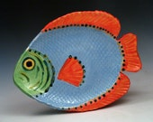 Colorful Fish Platter in Blue, Green and Orange