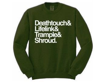 Magic The Gathering Sweatshirt - S-2XL - Deathtouch, Lifelink, Trample & Shroud Tee Shirt - Mtg Shirt Gift