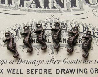Tiny seahorse charms - 15mm - black antiqued brass (6 charms) ocean life, nautical, beach charm