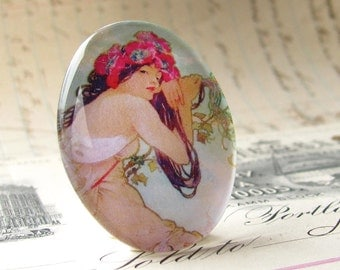 Art Nouveau cabochon, Mucha woman print, handmade 40x30 40x30mm 30x40mm 40 30 mm glass oval cabochon, pastel green sage, pastel pink, hair