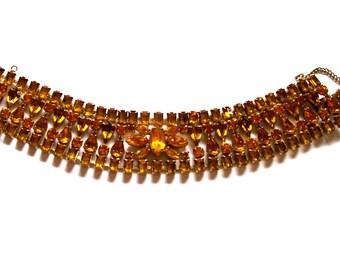 Vintage Prong Set Rhinestone Bracelet, Amber Honey Topaz, Chunky, 1950's Statement Bracelet, Mid Century Hollywood Glamor, VisionsOfOlde