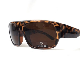 vintage 1990's NOS mens womens oversized sunglasses square brown black leopard print animal plastic frames brown lenses sun glasses eyewear