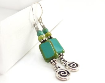 Turquoise & Silver Earrings - Picasso Rectangle Glass Beads - Bohemian Dangle Earrings - Silver Charm Earrings