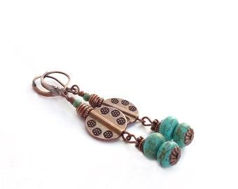 Turquoise & Copper Southwestern Earrings - Long Bohemian Dangle Earrings - Howlite Stones - Etched Metal - Gypsy Earrings