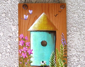 Bird House Springtime Scene on Reclaimed Wood Plaque Hand Painted