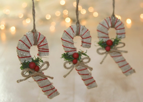 Rustic Christmas Candy Canes Christmas Set of 3